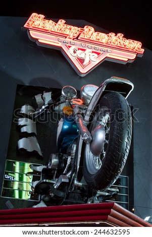 Las Vegas Nevada - December 18 : multi dimensional sign for the Harley Davidson Cafe, December 18 2014 in Las Vegas, Nevada - stock photo