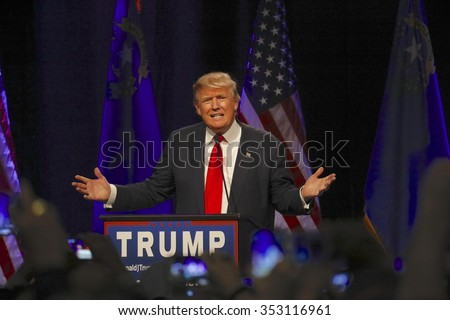 LAS VEGAS NEVADA, DECEMBER 14, 2015: Republican presidential candidate Donald Trump speaks at campaign event at Westgate Las Vegas Resort & Casino the day before the CNN Republican Presidential Debate - stock photo