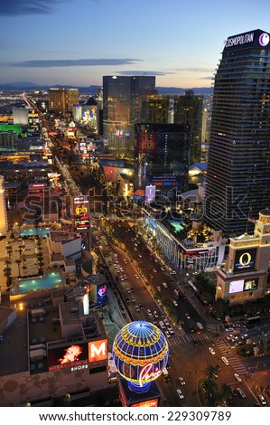 LAS VEGAS, NEVADA, - Feb. 25. 2011: Aerial view of Strip at Las Vegas Boulevard, the main street of the town and home of the largest hotels and casinos, Las Vegas, Nevada, USA  - stock photo