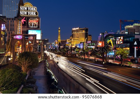 LAS VEGAS, NEVADA - FEBRUARY 10: Las Vegas strip on February 10, 2012 in Las Vegas Nevada.The Las Vegas Strip is an approximately 4.2-mile (6.8 km) stretch of Las Vegas Boulevard in Clark County, NV. - stock photo