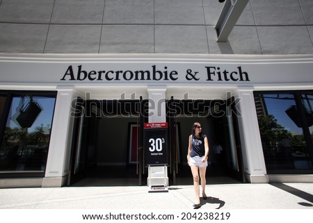 LAS VEGAS, NEVADA - FRI. JUNE 27, 2014:  Shoppers walk past an Abercrombie & Fitch store in Las Vegas, Nevada, on Friday, June, 27, 2014.  - stock photo