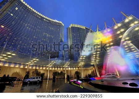 LAS VEGAS, NEVADA-Jan. 21. 2010: Entrance of Aria Hotel at CityCenter, urban complex on 76 acres (31 ha) located on the Las Vegas Strip with different hotels & casinos and residence. - stock photo