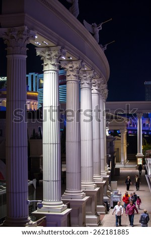 Las Vegas, Nevada - January 6: World famous Vegas Strip in Las Vegas, Nevada as seen at night on January 6, 2014. Stretching 4.2 miles, the Strip is home to the largest casinos in the world. - stock photo