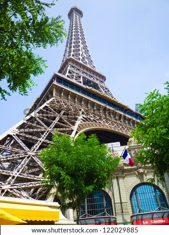 LAS VEGAS, NEVADA - JULY 3: Eiffel tower of Paris Hotel on July 3, 2011 in Las Vegas, Nevada. This casino hotel is located on the Las Vegas Strip, it includes replica of the Eiffel Tower - stock photo