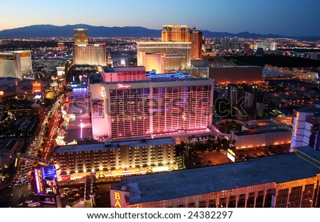 LAS VEGAS, Nevada - JUNE 7: Flamingo Hotel Casino shines brightly on Las Vegas Boulevard, as seen on June 7, 2008. Gangster Bugsy Siegel opened the Flamingo on December 26, 1946 at a total cost of $6 million with 105 rooms. - stock photo
