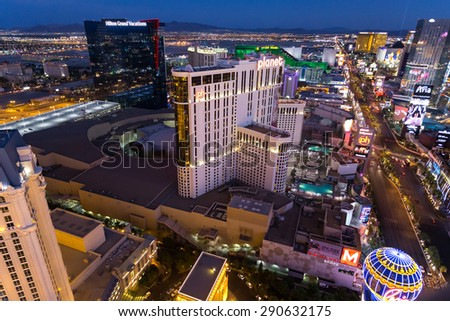 LAS VEGAS, NEVADA - JUNE 17, 2015. Las Vegas Strip in night lights