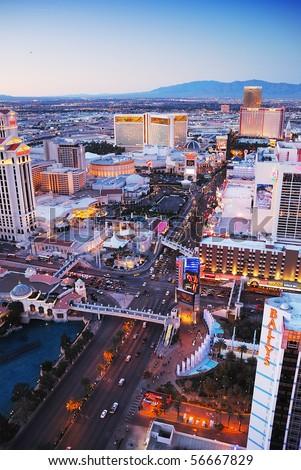 Las Vegas, Nevada - March 4,  Las Vegas street viewed from top of Eiffel Tower Hotel., March 4, 2010 in Las Vegas, Nevada. - stock photo