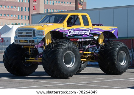 LAS VEGAS NEVADA - MARCH 22: Obsession Monster Truck on display for the Monster jam world finals at the Silver Bowl Stadium on March 22, 2012 in Las Vegas Nevada. - stock photo