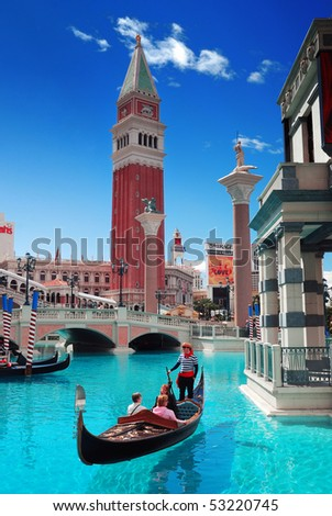 LAS VEGAS, NEVADA - MARCH  3,  Venice Theme Venetian and Caesars Casino Hote, March 3, 2010 in Las Vegas, Nevada. - stock photo
