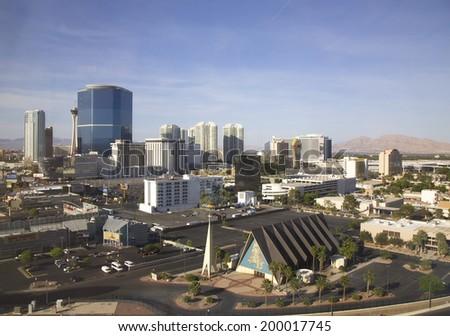 LAS VEGAS, NEVADA - MAY 9  Areal view of Las Vegas with Riviera Casino, Las Vegas Hilton and Stratosphere Tower on May 9, 2014  - stock photo