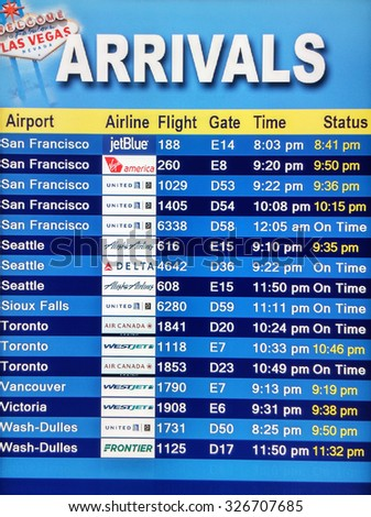LAS VEGAS, NEVADA - MAY 22: Arrival display board at airport terminal showing destinations flights to some of the world's most popular cities in Mc Carran Airport, Las Vegas, Nevada on May 22, 2015.