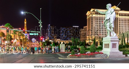 LAS VEGAS, NEVADA - MAY 29: Caesars palace hotel on May 29, 2015 in Las Vegas, Nevada,USA. Caesars palace is a luxurious hotel famous with its fountains and shops - stock photo