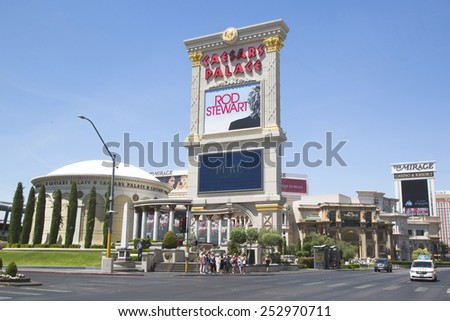 LAS VEGAS, NEVADA - MAY 9, 2014: Caesars Palace Las Vegas Hotel & Casino. Caesars Palace is a luxury hotel and casino located on the Las Vegas Strip with 3,960 rooms in six towers - stock photo