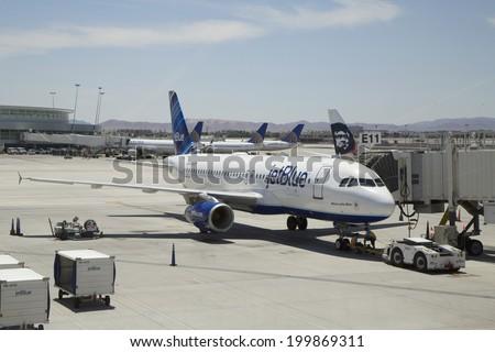 LAS VEGAS, NEVADA - MAY 12: Jet Blue Airbus A320 aircraft ready to take off on May 12, 2014 at Las Vegas airport - stock photo
