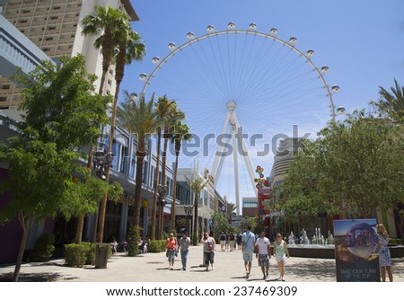 LAS VEGAS, NEVADA - MAY 10:Las Vegas newest attraction The High Roller Ferris Wheel stands tall 550-foot, located near Las Vegas Strip on May 10, 2014. It opened to the public on March 31, 2014 - stock photo