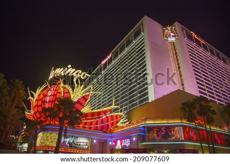 LAS VEGAS, NEVADA - MAY 12 : Neon sign in the front of Flamingo Las Vegas Hotel and Casino on May 12, 2014. Mobster Bugsy Siegel opened The Flamingo Hotel & Casino on December 26, 1946