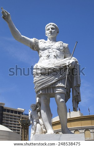 LAS VEGAS, NEVADA - MAY 9, 2014:Statue at  Caesars Palace Las Vegas Hotel & Casino. Caesars Palace is a luxury hotel and casino located on the Las Vegas Strip with 3,960 rooms in six towers - stock photo