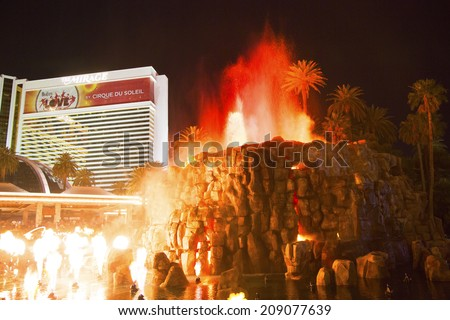 LAS VEGAS, NEVADA - MAY 12 : The Mirage Hotel artificial Volcano Eruption show in Las Vegas on May 12, 2014, The Mirage hotel opened in 1989 and it has 100,000 square feet of gaming space - stock photo