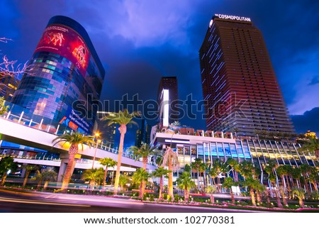 LAS VEGAS, NEVADA - MAY 7: Vegas Strip in Las Vegas, Nevada on May 7, 2012.  The Strip is famous for resorts, casinos, restaurants and shopping such as The Cosmopolitan and Harmon shown here. - stock photo