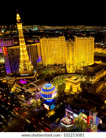 LAS VEGAS, NEVADA - MAY 7:  World famous Vegas Strip in Las Vegas, Nevada as seen at night on May 7, 2012.  Stretching 4.2 miles, the Strip is home to the largest hotels and casinos in the world. - stock photo