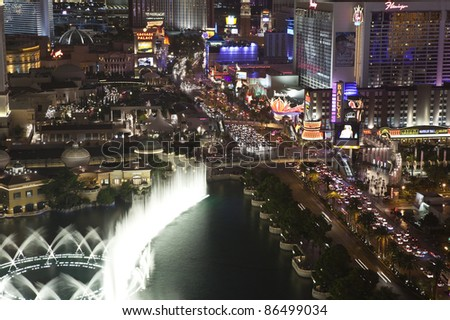 LAS VEGAS, NEVADA - OCT 6:  Caesars Palace, Bellagio and Flamingo resorts on the strip. Vegas has 147,611 hotel rooms with a average daily rate of $106 on October 6, 2011 in Las Vegas, Nevada. - stock photo