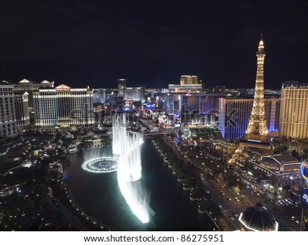 LAS VEGAS, NEVADA - OCT. 6:  Caesars Palace, Bellagio and Paris resorts on the strip on October 6, 2011 in Las Vegas, Nevada. Vegas has 147,611 hotel rooms with a average daily rate of $106. - stock photo