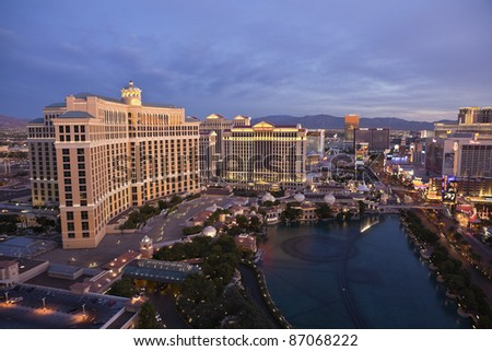 LAS VEGAS, NEVADA - OCT. 7:  Caesars Palace, Bellagio and the Flamingo resorts on the strip on Oct 7, 2011 in Las Vegas, Nevada. Vegas has 147,611 hotel rooms with a average daily rate of $106. - stock photo