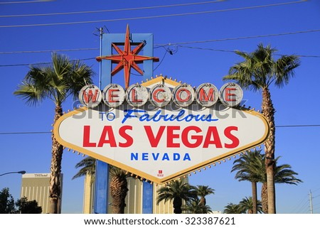 LAS VEGAS, NEVADA - Oct  Welcome to Never Sleep city Las Vegas,American,America