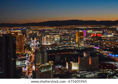LAS VEGAS, NEVADA - OCTOBER 16, 2015 - Aerial view of Las Vegas city in Nevada at night