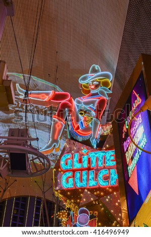 LAS VEGAS, NEVADA - OCTOBER 20, 2012 - illuminated signs neon in fremont street las vegas nevada city gambling - stock photo