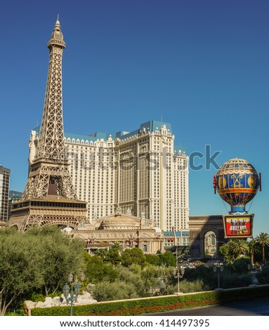 Las Vegas, Nevada - 3 October 2014: Paris Hotel and Casino in Las Vegas.
