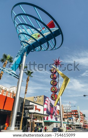 LAS VEGAS, NEVADA - OCTOBER 20: Restored giant neon sign in Fremont Street East district in touristic downtown, October 20, 2017 in Las Vegas, Nevada.