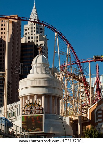 Las Vegas, Nevada-October 28, 2011: Roller coaster in front of the New York, New York hotel in Las Vegas.