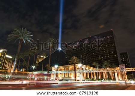LAS VEGAS, NEVADA - OCTOBER  03: The Luxor Hotel Casino, one of the most recognizable landmarks of Vegas at night during a live performance of Chris Angel, 03 October, 2011, in Las Vegas, NV - stock photo