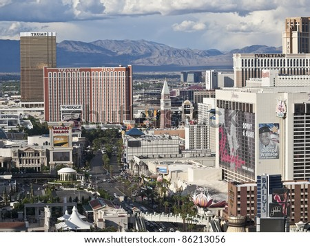 LAS VEGAS, NEVADA - OCTOBER 6:  Trump, Treasure Island and other resorts on the strip on October 6, 2011 in Las Vegas, Nevada. Vegas has 147,611 hotel rooms with a average daily rate of $106