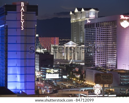 LAS VEGAS, NEVADA - SEPT 7: Caesars Palace, Ballys and the Flamingo resorts on the strip. Vegas has 147,611 hotel rooms with a average daily rate of $106 on September 7, 2011 in Las Vegas, Nevada. - stock photo