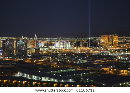 LAS VEGAS, NEVADA - SEPTEMBER 13:  Exciting theme resorts compete for attention in the desert night on September 13, 2010 in Las Vegas, Nevada. - stock photo
