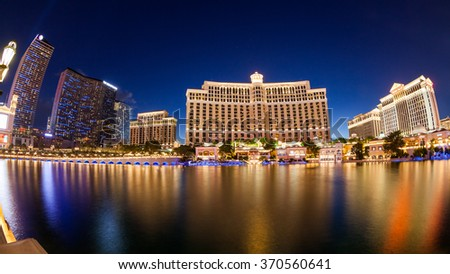 LAS VEGAS, NEVADA - SEPTEMBER 8: Exterior views of the Bellagio Casino on the strip on September 8, 2015. The Bellagio is a famous and popular luxury casino with a big lake in front of it.