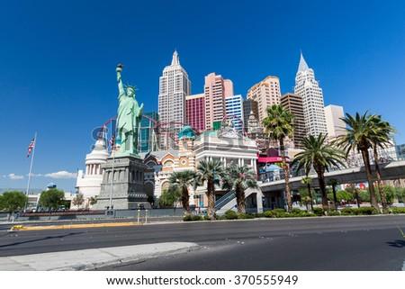 LAS VEGAS, NEVADA - SEPTEMBER 9: Exterior views of the New York, New York Casino on the Las Vegas Strip on September 9, 2015. The New York, New York is a famous and popular luxury casino in Vegas. - stock photo