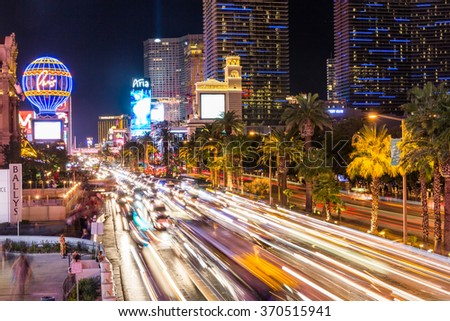 LAS VEGAS, NEVADA - SEPTEMBER 9: Exterior views of the Paris Casino Resort on the Las Vegas Strip on September 9, 2015. The Paris Casino Resort is a famous and popular luxury casino in Vegas. - stock photo