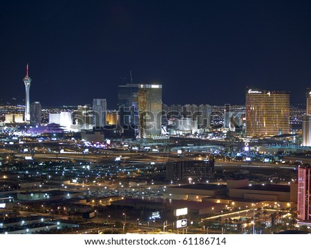 LAS VEGAS, NEVADA - SEPTEMBER 13:  Towering new casino resorts shine brightly along the strip on September 13, 2010 in Las Vegas, Nevada.