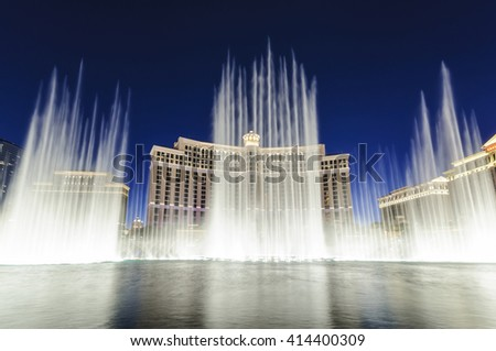 LAS VEGAS, NEVADA - SEPTEMBER 9: Water fountain show in front of the Bellagio Casino and Hotel at night on the strip on September 9, 2010.