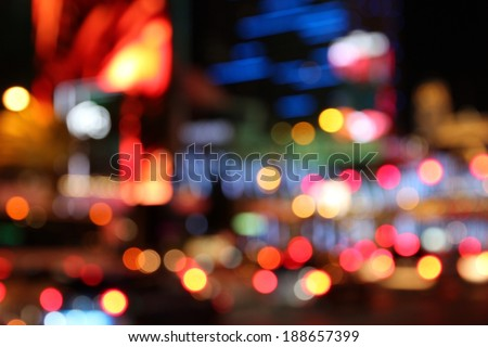 Las Vegas, Nevada, United States. Defocused city lights - colorful night view. - stock photo