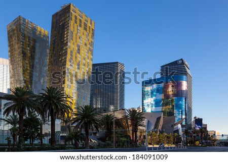 LAs VEGAS, NEVADA/USA - AUGUST 1 ; View at sunrise of various hotels in Las Vegas Nevada on August 1, 2011 - stock photo