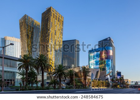 LAs VEGAS, NEVADA/USA - AUGUST 1 ; View at sunrise of various hotels in Las Vegas Nevada on August 1, 2011. Unidentified people.
