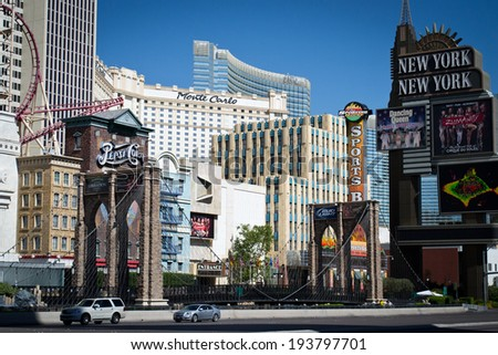 LAS VEGAS,NEVADA,USA-AUGUST,2,2012:view from the strip of the hotel casino new york new york - stock photo