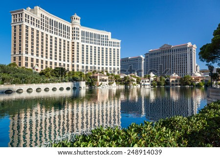LAs VEGAS, NEVADA/USA - AUGUST 1 : View of the Bellagio Hotel and Casino in Las Vegas Nevada on August 1, 2011 - stock photo