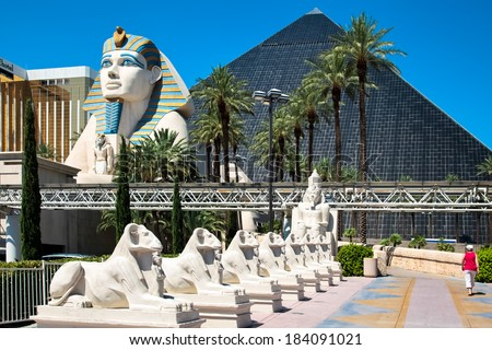 LAs VEGAS, NEVADA/USA - AUGUST 1 ; View of the Luxor hotel in Las Vegas Nevada on August 1, 2011. Unidentified woman. - stock photo