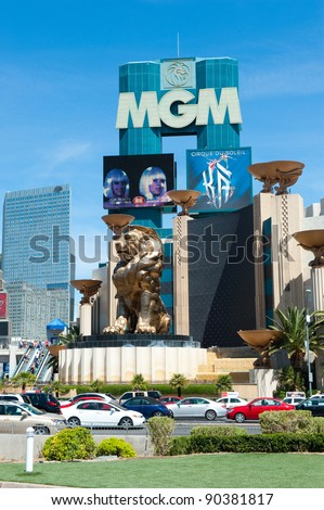 LAS VEGAS, NEVADA, USA - CIRCA APRIL 2011: MGM Grand Hotel . The MGM Grand was the largest hotel in the world when it opened in 1993 - stock photo