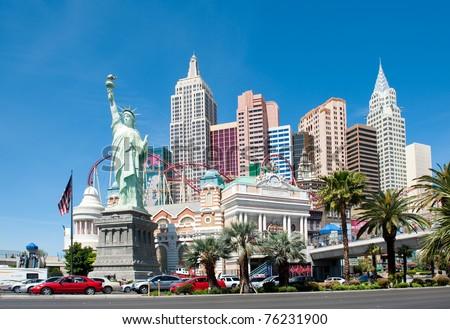 LAS VEGAS, NEVADA, USA - CIRCA APRIL 2011: New York - New York Hotel & Casino. New York New York is a luxury hotel and casino located on the Las Vegas Strip - stock photo
